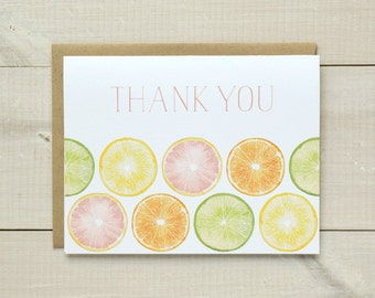 Watercolor Citrus Thank You Stationery, Fruit Thank You Cards, Watercolor Thank You Notes, Tropical Thank You Cards, Wedding Thank You