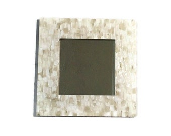 Taupe and white beach mirror, Mosaic Style Mirror, Hanging white mirror, decorative bathroom mirror, Taupe Mirror, square mirror.