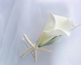 Wedding Natural Touch Ivory Calla Lily and Starfish Silk Wedding Beach Boutonniere
