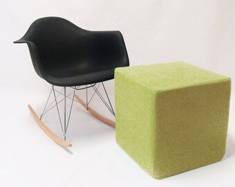 Cube/Pouf/Ottoman/Green Apple/Minimalistic /Modern Floor Pouf /Green/ Unique Side table/ Foot Stool /Zigzag Studio Design
