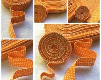 """3 or 6 yards 1/2"""" Double Fold Orange with Polka Dot Bias Tape, 3 or 6 Yards 1"""" Single Fold Bias Binding Tape"""