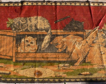 vintage cat tapestry, velveteen, hall hanging, handbag, up cycle, from Diz Has Neat Stuff