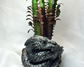 Coiled Dragon Planter, Pewter Finish