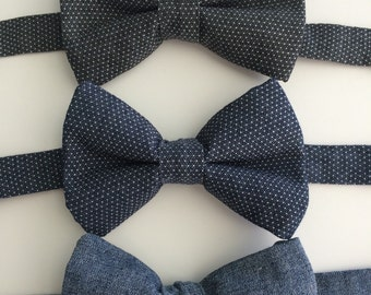 Chambray Denim Bow Tie Baby Boy and Toddler Boys Photography Prop Wedding Birthday