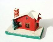 Vintage Putz village house, retro Christmas, little house, 1960's Christmas