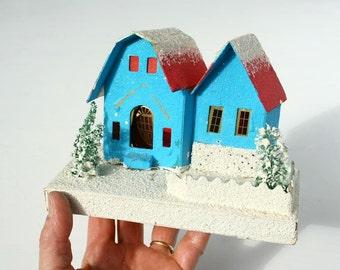 Putz village house, retro Christmas, little house, 1950's Christmas