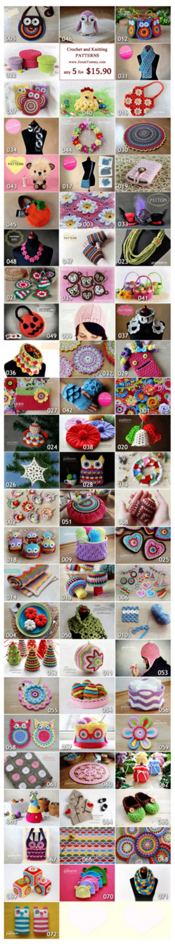 Crochet Patterns - Pick Any 5 Crochet and Knitting Patterns Bundle