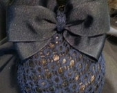 Navy Grosgrain Bow with Net Snood