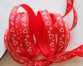 """3/8"""" Grosgrain Ribbon with Hearts - 5 Yards of Red with White Hearts"""
