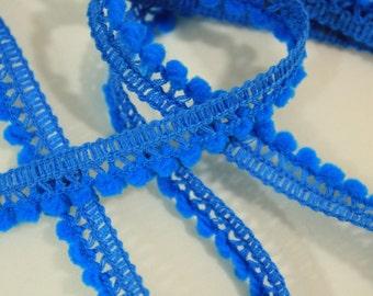 Mini Pom Pom Fringe - Turquoise - 10mm balls