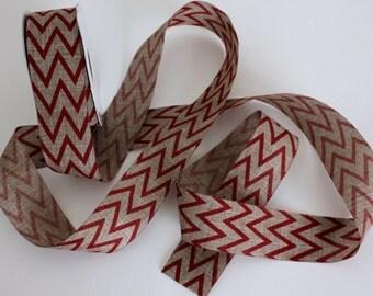 "1 1/2"" Chevron Print Natural Ribbon - Wreath Ribbon - Bows"