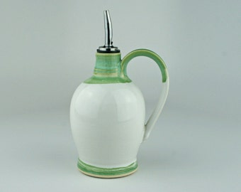 Olive Oil Bottle in Mint and White