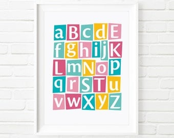 Printable Art, Alphabet print, kids decor, nursery art, childrens print, kids print, playroom art, educational print, kids printable,