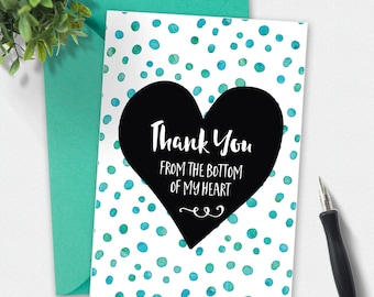 Printable Card, Thank you card, Thankyou card, polkadot card, greeting card, love card, hand drawn card, printable thankyou, black and white
