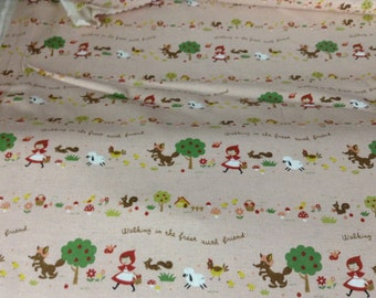 Japanese Kokka woodland red riding hood scene on Pink Back Ground vintage canvas type material 100 percent cotton from Japan 1 yard