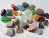 Seaham collection of sea glass, pottery, pebbles & tile shards - 31 Lovely English beach finds