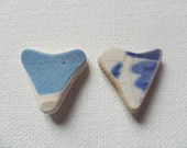 2 blue & white sea pottery heart shapes - Pretty English beach find pieces