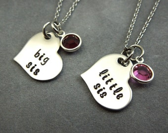 Big sis, little sis, Personalized hand stamped stainless steel set of 2 necklaces, middle sis, sisters