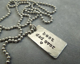 best dad ever, hand stamped stainless steel necklace, dad gift, father, mens gift, daddy,