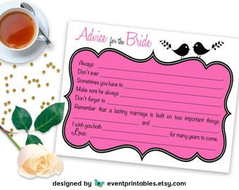 Printable Bridal Shower Mad Libs, Lovebird Advice for Bride Card, Fuchsia Hot Pink Love Birds Shower Game DIGITAL FILE by Event Printables