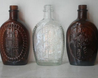 Instant Collection of Vintage Log Cabin Maple Syrup Glass Bottles