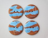 1 inch Polymer Clay Buttons, 25 mm sewing buttons, set of 4, blue and brown