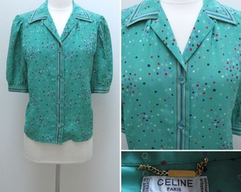 Vintage 1970s Celine Silk Blouse with Stars and Stripes