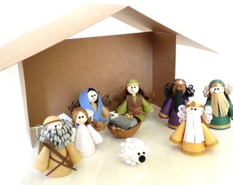 Christmas Nativity Set, Christmas Decor, Nativity Scene, Paper Quilled Complete Set