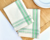 Vintage Martex Dish Towels Unused - Set of Two - New Old Stock - Green and Black Ticking Kitchen Towels - Mid Century Kitchen - Tea Towels