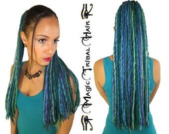 MERMAID DREAD FALLS siren dreadlocks Fantasy hair fall 112 dreads 24''/ 60 cm long Tribal Fusion extension Goa boho hair piece Belly Dance