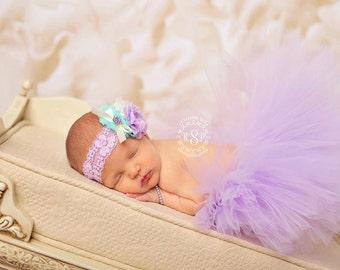 Baby Tutu Set, Lavender Tutu, Lace Headband, Flower Headband, Light Purple, Baby Girls, Many Sizes