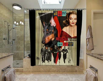 Manchester Terrier Art Shower Curtain, Dog Shower Curtains, Bathroom Decor - All About Eve Movie Poster