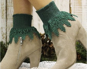 lace socks, SIGNATURE LACE  lace cuff socks in hunter green, short boot socks, lace ankle socks, socks w lace, lacy socks, dressy socks SLC2