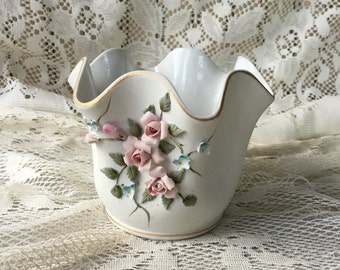 Vintage Lefton Vase , Small Lefton Vase with Pink Roses , Vase with Pink Flowers , Fluted White Vase , Short White Vase