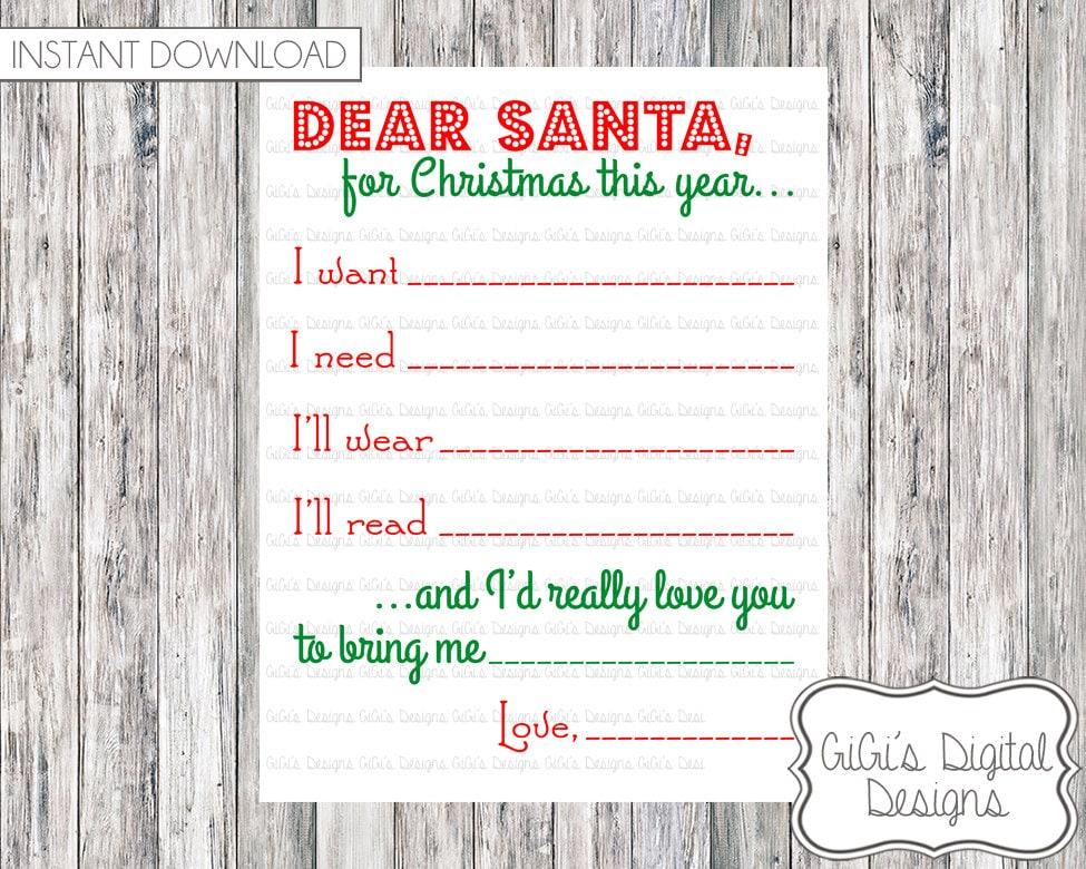 Merry Christmas DEAR SANTA letter wishlist wish list I want I