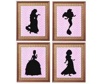Princess Prints 8x10 Instant Download Set Nursery Princess Printable Art Fairytale Wall Art Kid's Room Decor Pink Nursery Art Nursery Decor