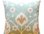SALE Decorative Pillow Cover- Magnolia Java Spa Blue Ikat Pillow- All Sizes- Zippered Pillow- Cushion Cover- Accent Pillows- Pillow Case