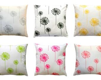 Modern Floral Pillows, Dandelion Pillow Cover, Zippered Pillow, Cushion Cover, Spring Pillows, Bed Pillows, Yellow Pillow, Flower Silhouette