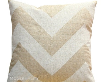 SALE Decorative Chevron Pillows- Premier Prints Beige and Cream Zippy Pillow Cover- 20x20 or Choose Size- Zippered Pillow- Burlap Pillow