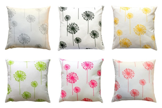 Modern Floral Pillow : Modern Floral Pillows Dandelion Pillow by ModernalityHomeDecor