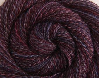 Handspun Yarn, 2 ply - CONCORD GRAPES - Handpainted Wensleydale wool, DK weight, 286 yds