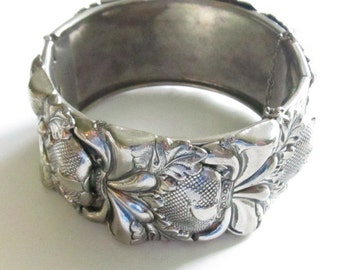 Vintage Vargas Wide Silver Plate Strawberry Repousse Cuff Bracelet Signed