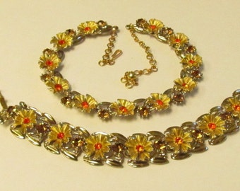 Vintage Gold Tone Flower Link Necklace and Bracelet with Orange and Topaz Rhinestones