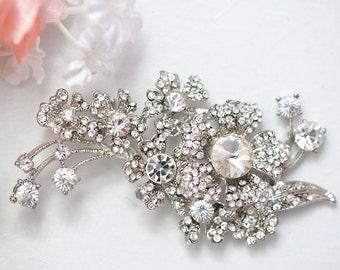 SALE Primrose Swarvoski bridal  rhinestone brooch, head piece