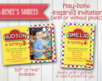 Play Clay Party Invitation - Printable Photo Birthday Invite - for Boys or Girls - Personalized DIY