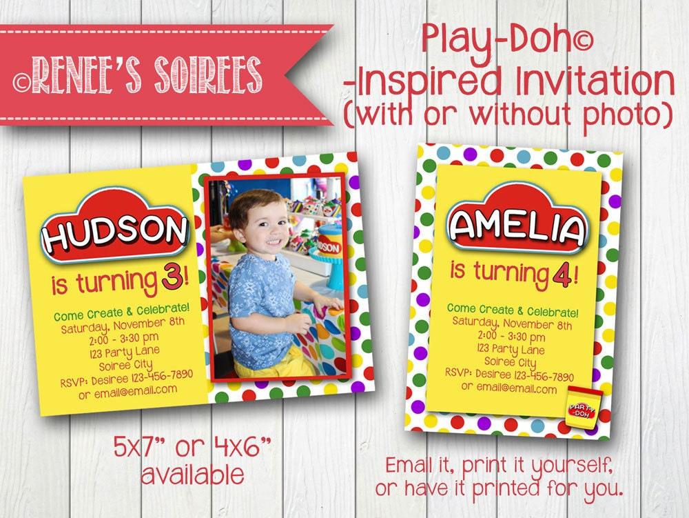 Play Clay Party Invitation Printable Photo Birthday Invite