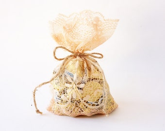 Orange Pastel lace wedding favor bag / vintage style wedding favor rustic wedding favor/ barn weddings / beach weddings/ baby shower
