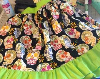 Sugar Skull Lolita Pinup skirt Custom made 100% cotton