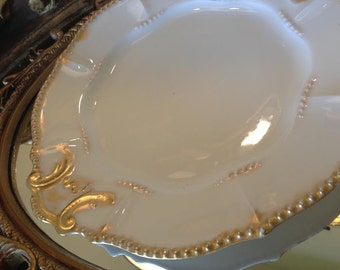 Antique French Serving Plate, Stunning Gold Accents and Made in France
