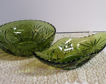 Green Glass Bowls Candy Dish Serving Bowl